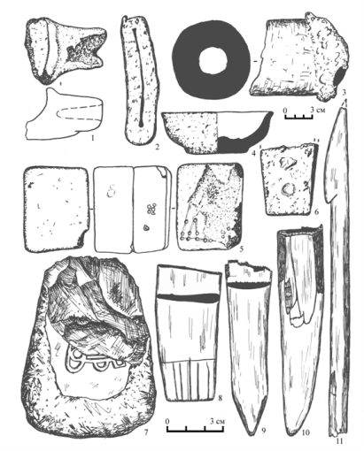 Микшино: изделия из глины, железа, камня и кости