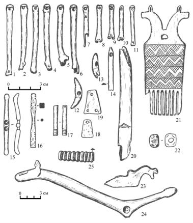 Микшино: изделия из кости, зубов животных и бронзы (рис. П. Травкина).